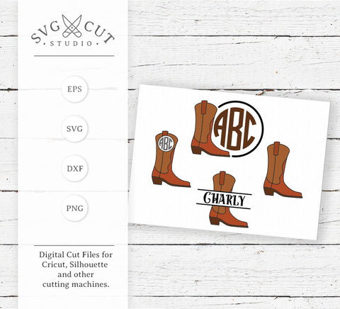 Cowboy Boots Monogram SVG Cut Files