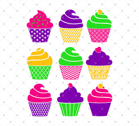 Cupcakes SVG Cut Files - SVG DXF PNG cut cutting files for Cricut and Silhouette by SVG Cut Studio