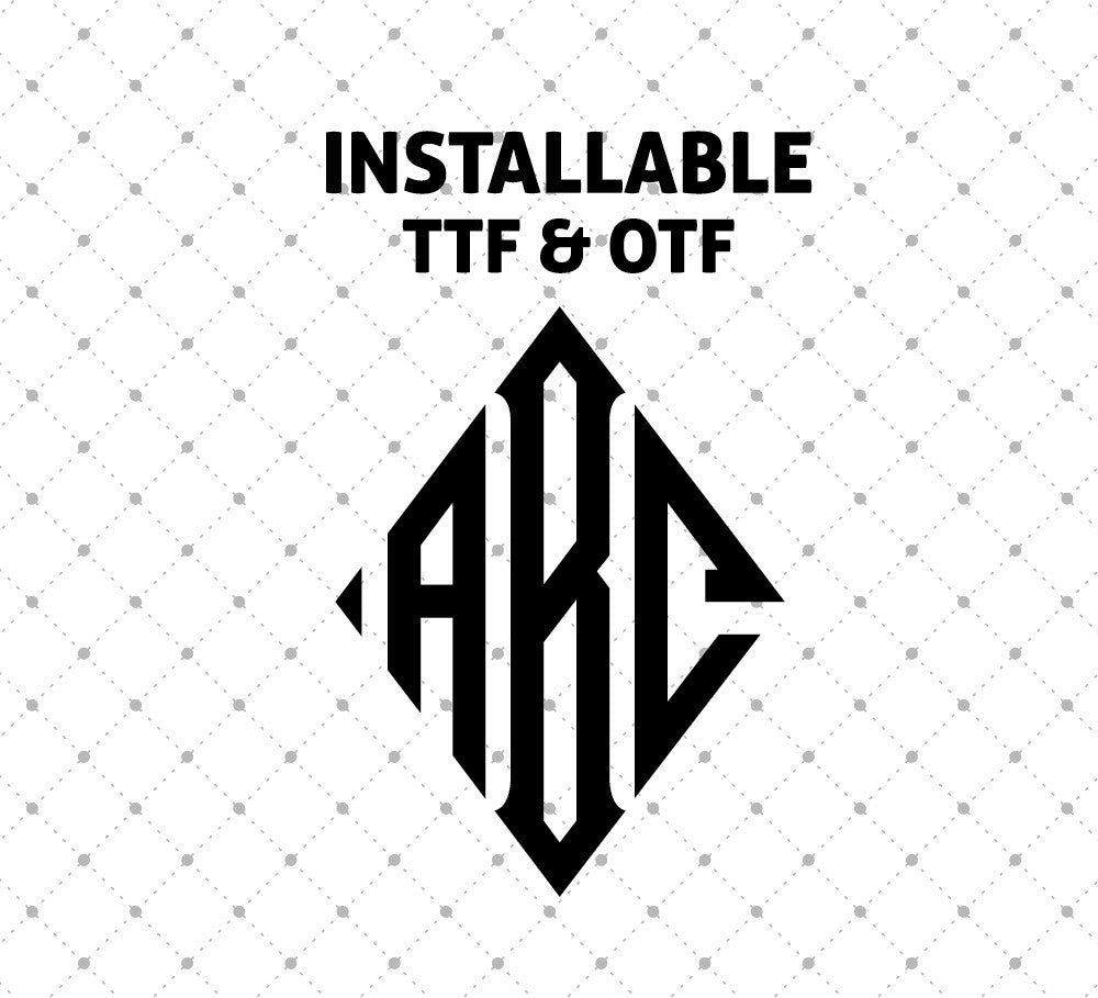 Installable Diamond Monogram True Type Font