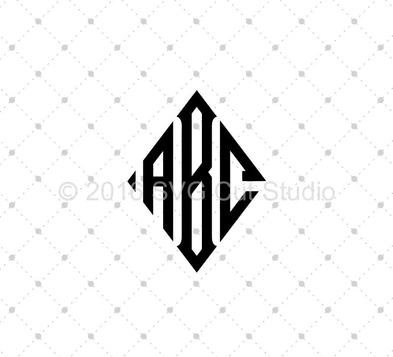 Diamond Monogram Font SVG Cut Files - SVG DXF PNG cut cutting files for Cricut and Silhouette by SVG Cut Studio