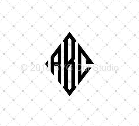 Diamond Monogram Font SVG Cut Files - SVG Cut Studio