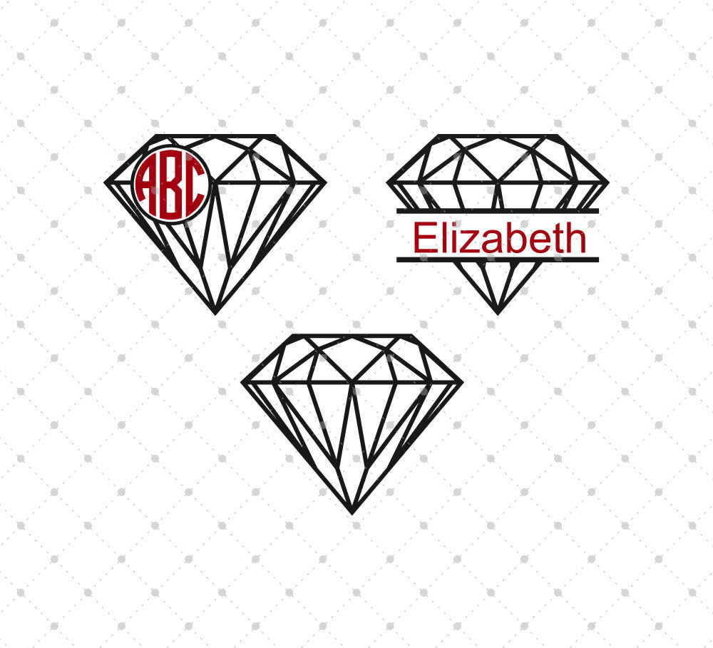 Diamond Monogram Frames SVG Cut Files - SVG DXF PNG cut cutting files for Cricut and Silhouette by SVG Cut Studio