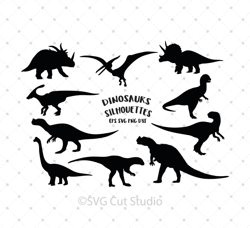 Dinosaurs Silhouettes SVG Cut Files