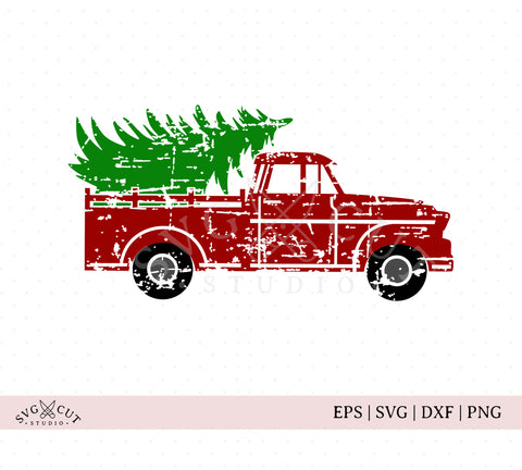 distressed grunge vintage christmas truck svg