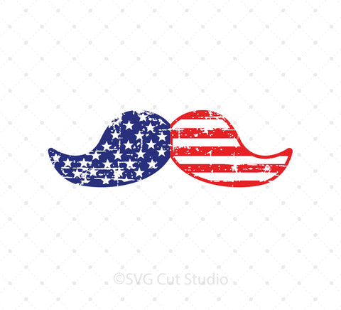 SVG files for Cricut Distressed 4th of July American Moustache SVG PNG DXF EPS Files Silhouette Studio3 files PNG clipart free svg by SVG Cut Studio