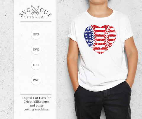 Distressed Baseball Heart SVG US Flag SVG at SVG Cut Studio for Cricut Explore Silhouette Cameo free svg files