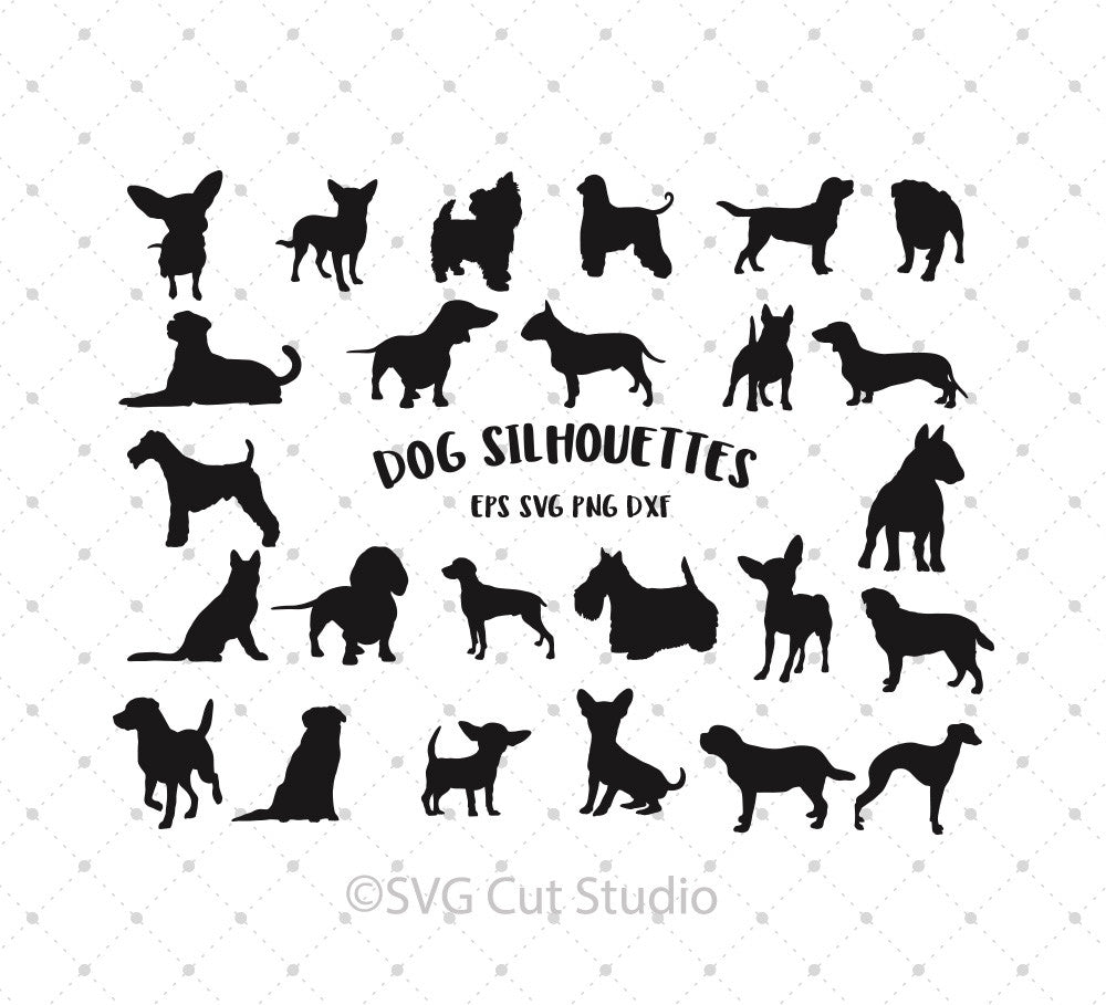 Dog Silhouettes SVG Cut Files - SVG DXF PNG cut cutting files for Cricut and Silhouette by SVG Cut Studio