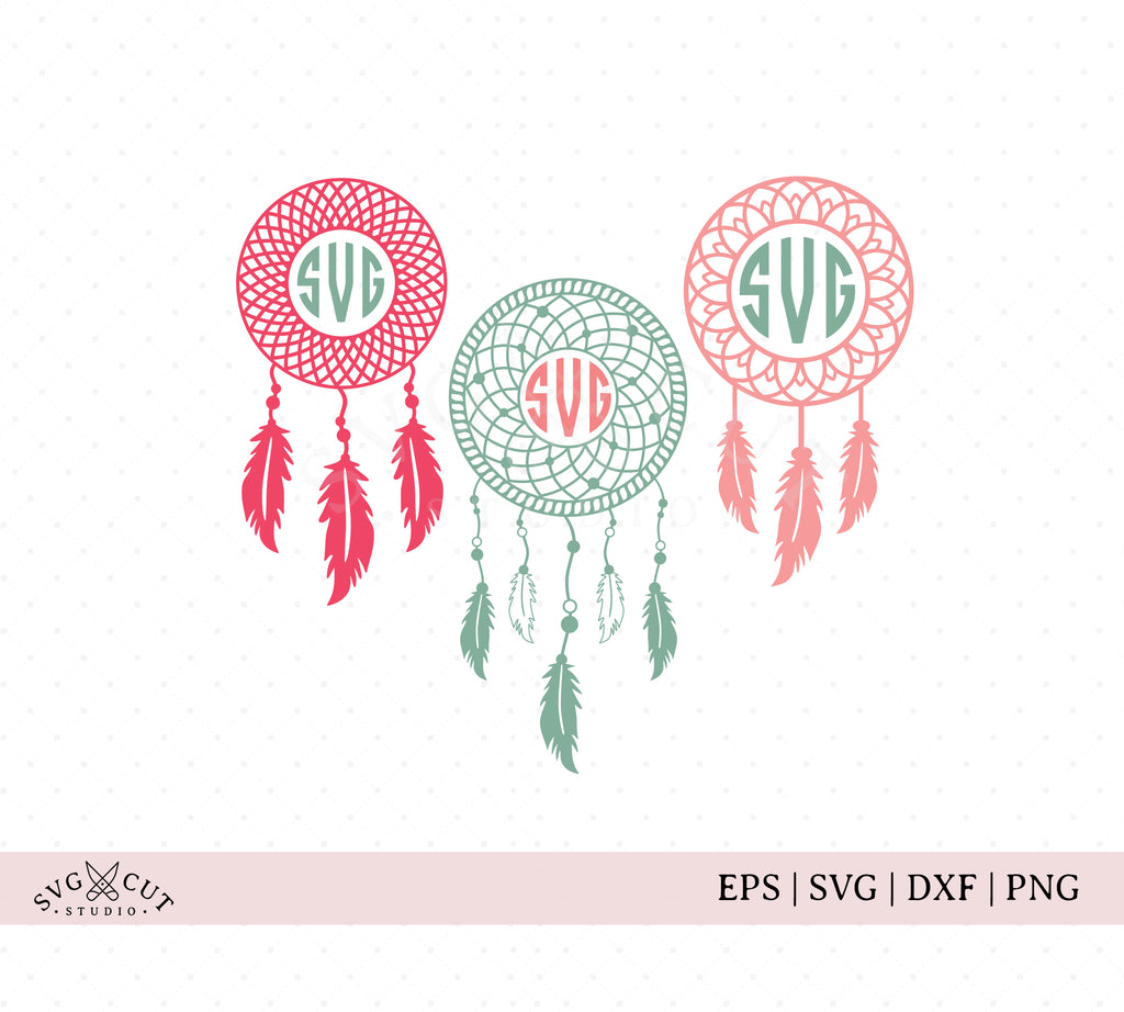 Dream Catcher Monogram Frame SVG Cut Files