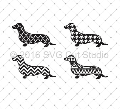 Patterned Dachshund SVG Cut Files - SVG Cut Studio