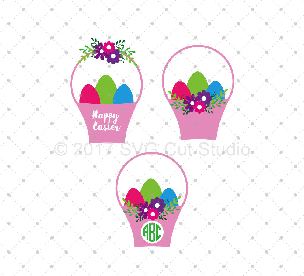 SVG files for Cricut Easter Basket SVG Cut Files Silhouette Studio3 files PNG clipart free svg by SVG Cut Studio