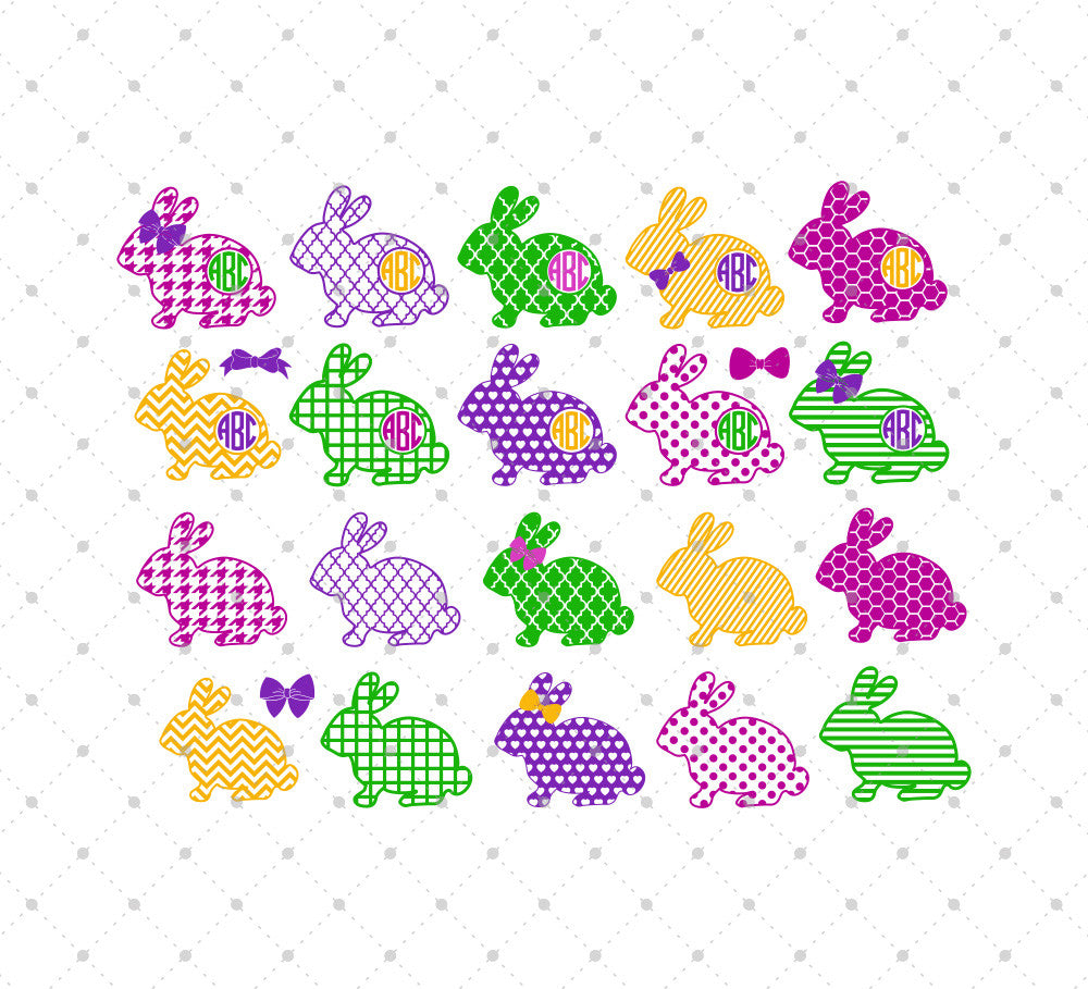 Patterned Easter Bunny SVG Cut Files - SVG DXF PNG cut cutting files for Cricut and Silhouette by SVG Cut Studio
