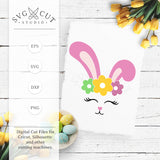 Bunny Face with Flowers SVG Files
