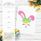 Bunny Face with Bow SVG Files