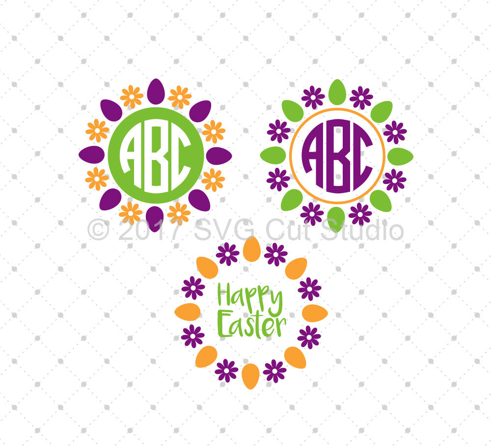 Easter Egg Monogram Frames SVG Cut Files - SVG DXF PNG cut cutting files for Cricut and Silhouette by SVG Cut Studio