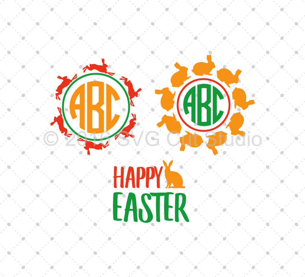 SVG files for Cricut Easter Monogram Frames SVG Cut Files Silhouette Studio3 files PNG clipart free svg by SVG Cut Studio