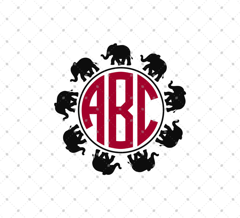 Elephants Circle Monogram SVG Cut Files