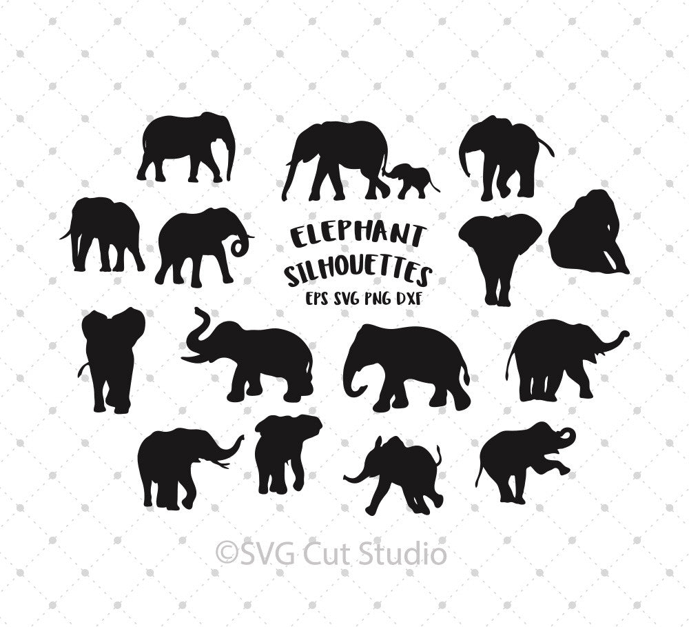 Elephant Silhouettes SVG Cut Files for Cricut Silhouette printable png dxf clipart and free svg files by SVG Cut Studio