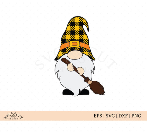 Halloween Gnome svg files, Gnome with plaid hat svg, Gnome with halloween broom svg, Fall Gnome Svg Cut Files for Cricut, Silhouette, Scan n Cut, Sizzix.  More @SVGCutStudio