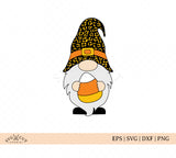 Halloween Fall Gnome with Candy Corn and Cheetah hat SVG Files for Cricut and Silhouette.