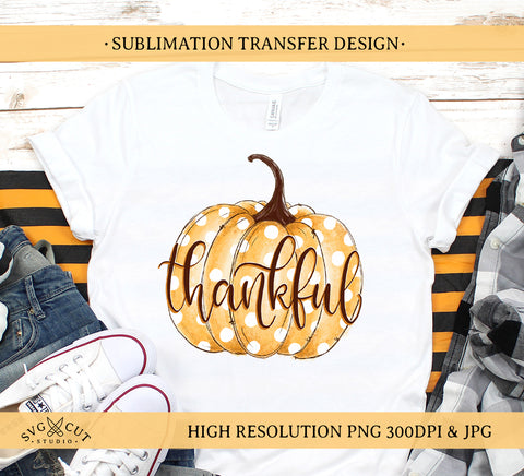 Pumpkin Sublimation Design, Thankful Pumpkin PNG, Hand drawn Pumpkin