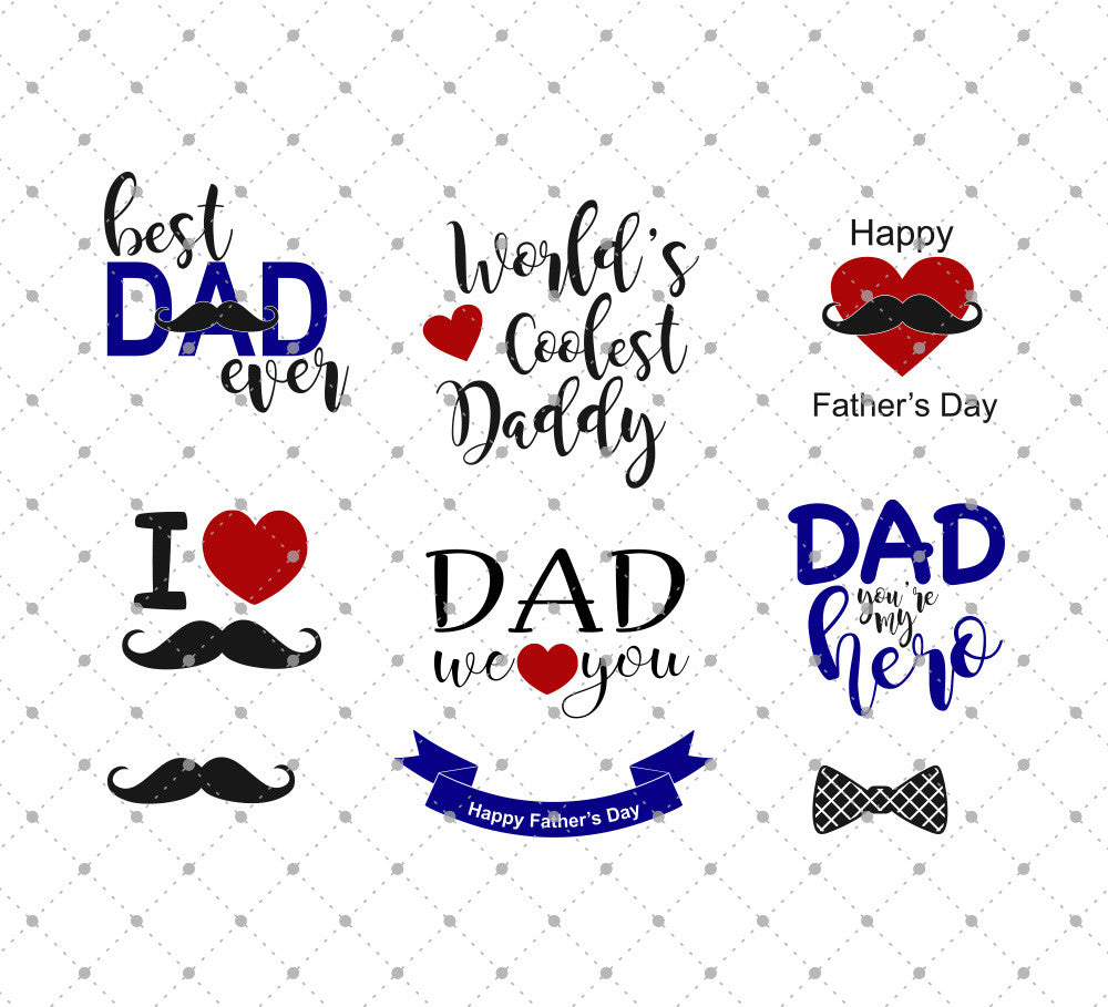 Father's Day SVG Cut Files for Cricut Silhouette printable png dxf clipart and free svg files by SVG Cut Studio