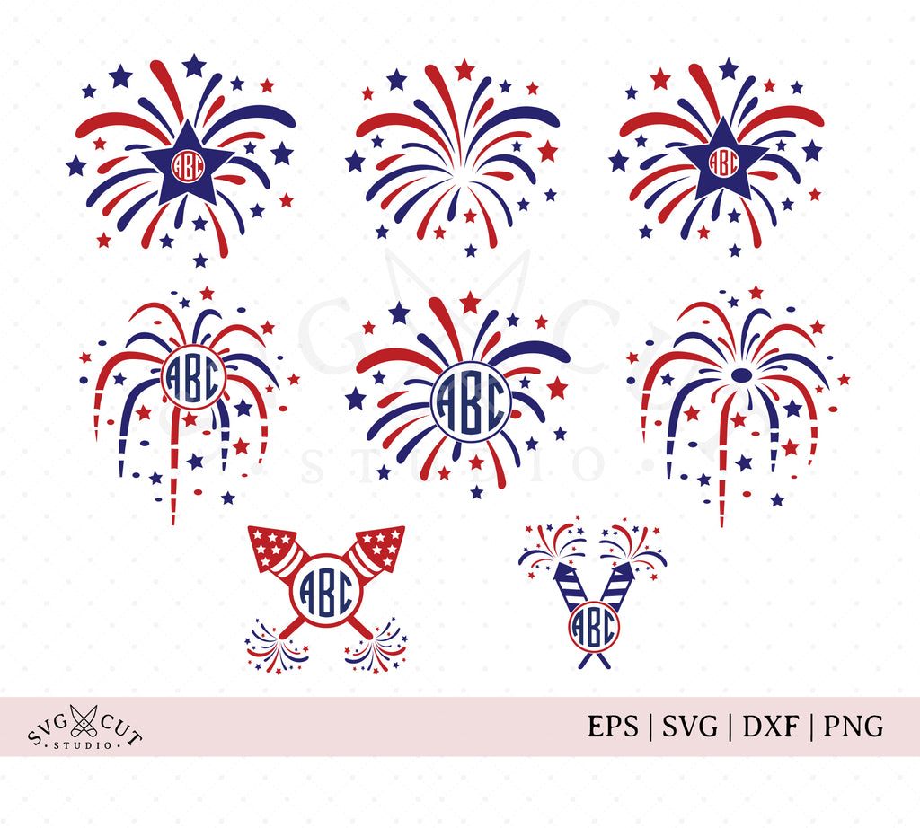 4th of July Fireworks SVG Cut Files
