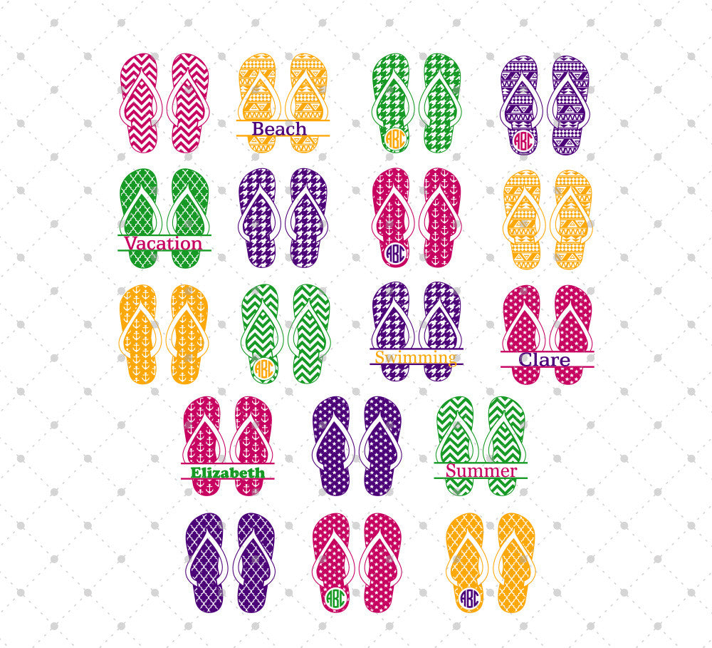 Summer Flip Flops SVG Cut Files - SVG DXF PNG cut cutting files for Cricut and Silhouette by SVG Cut Studio