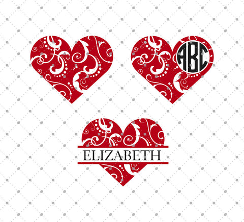 Floral Hearts SVG Cut Files
