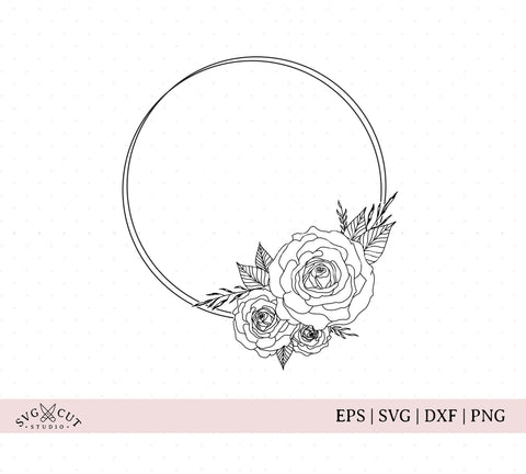 Flower Frame SVG, Wreath Monogram Frame SVG