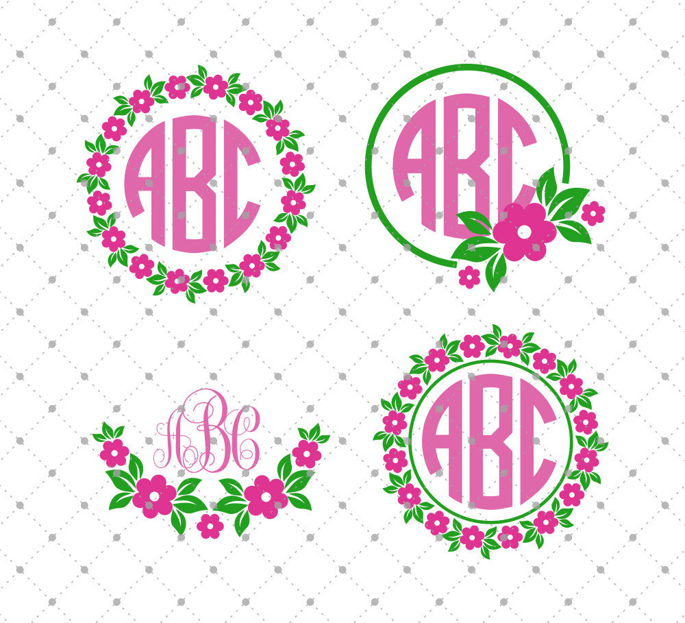 SVG Cut Files for Cricut and Silhouette - Flower Monogram Frame SVG ...