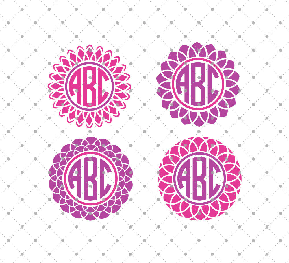 Flower Monogram Frames SVG Cut Files for Cricut Silhouette printable png dxf clipart and free svg files by SVG Cut Studio