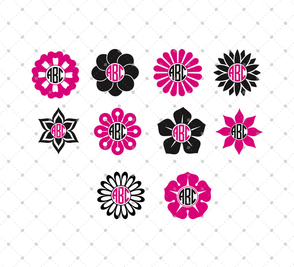 Flower Monogram Frame SVG Cut Files