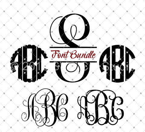 Circle Vine Scalloped Interlocking Monogram Font Bundle SVG Files for Cricut Explore Silhouette Cameo Etsy svg files - SVG Cut Studio
