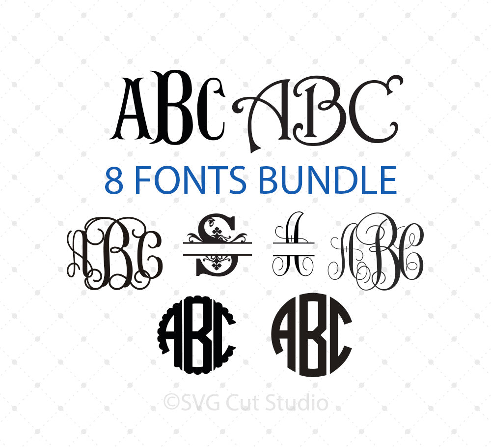Cricut Monogram Font Bundle SVG Cut Files