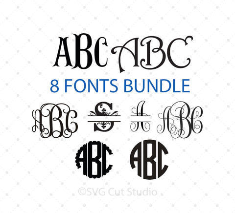 Cricut Monogram Font Bundle SVG Cut Files for Cricut Silhouette printable png dxf clipart and free svg files by SVG Cut Studio