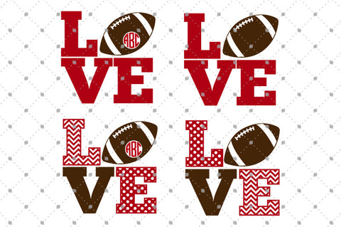 Football Love SVG Cut Files - SVG DXF PNG cut cutting files for Cricut and Silhouette by SVG Cut Studio