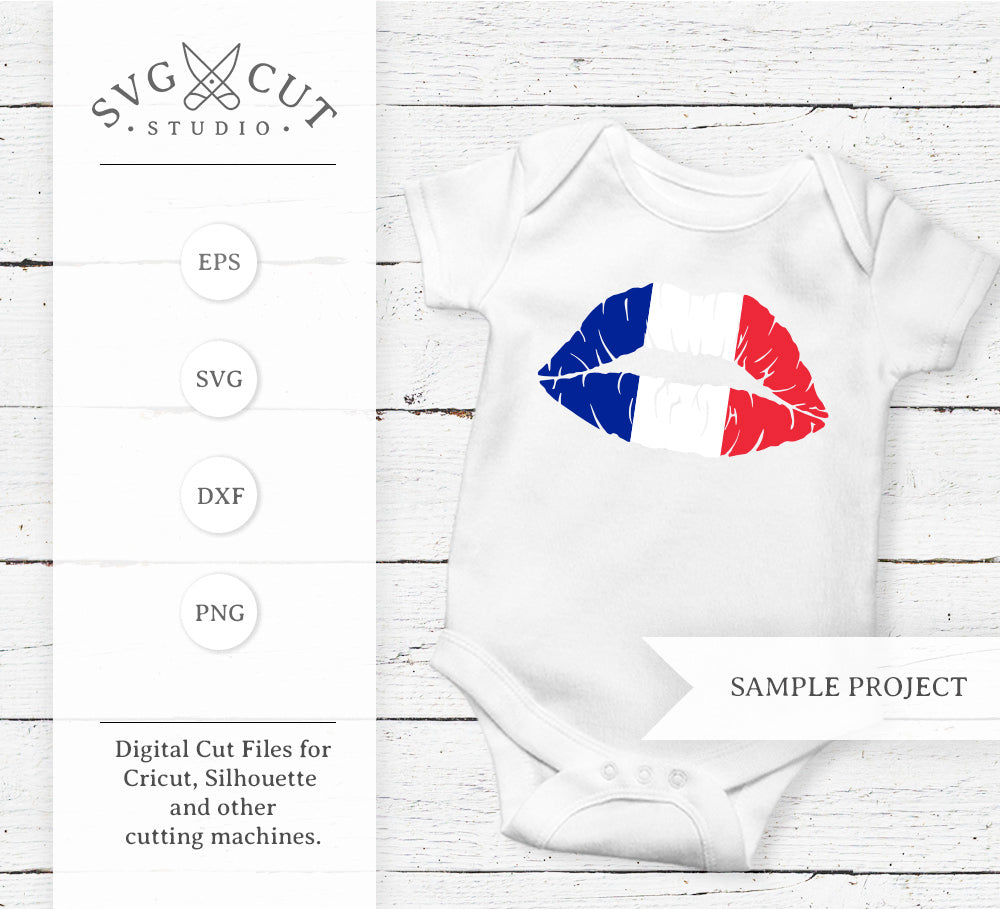 French Flag Lips SVG Cut Files