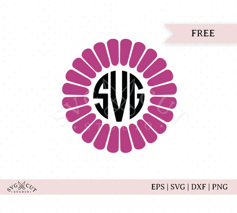 Free Flower Monogram Frame SVG Cut Files D2