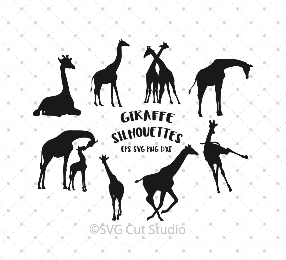 Giraffe Silhouettes SVG Cut Files - SVG DXF PNG cut cutting files for Cricut and Silhouette by SVG Cut Studio