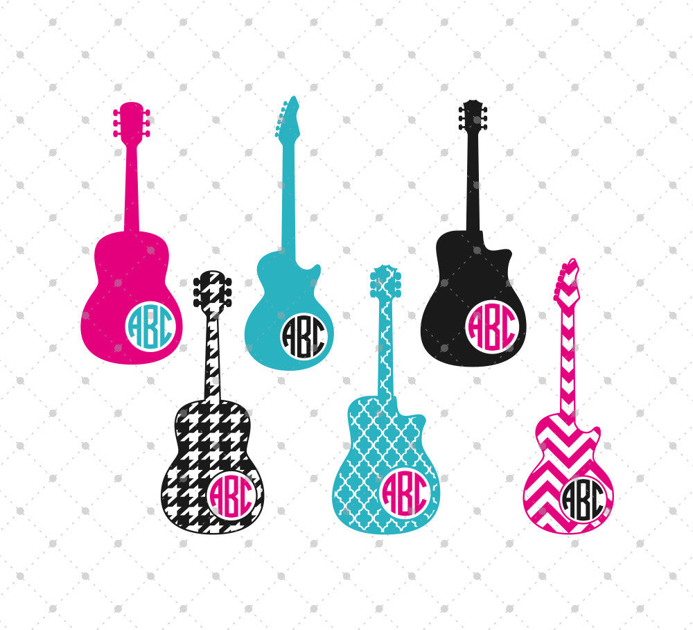 Guitar Monogram Frames SVG cut files