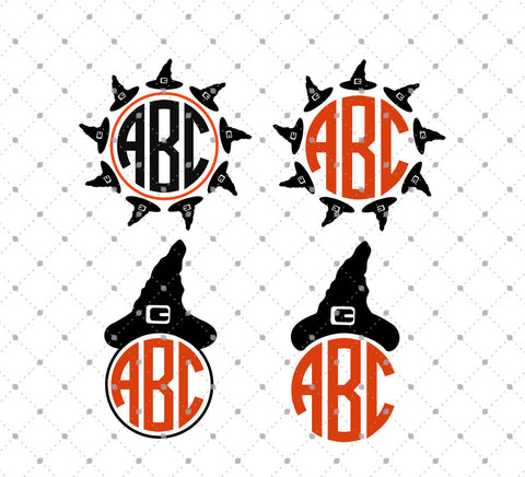 Witch Hat Monogram Frames SVG Cut Files