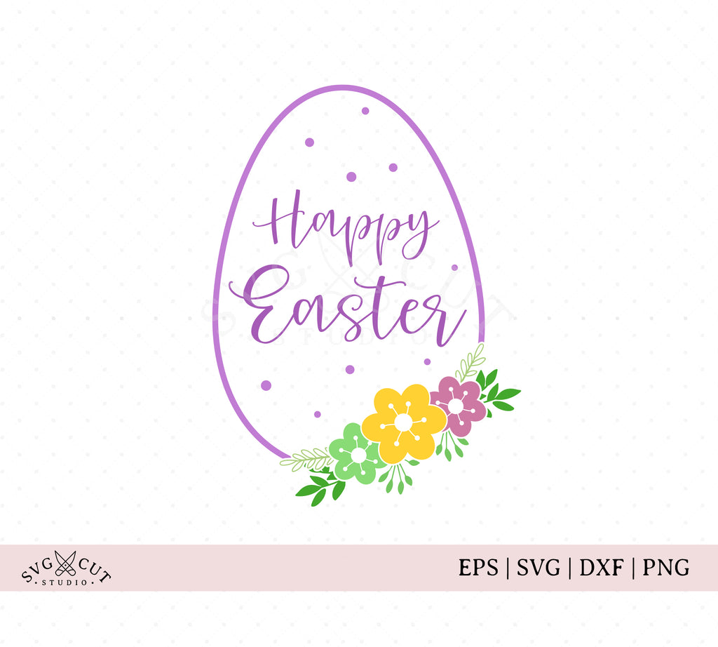 Happy Easter Egg with Flowers SVG Files