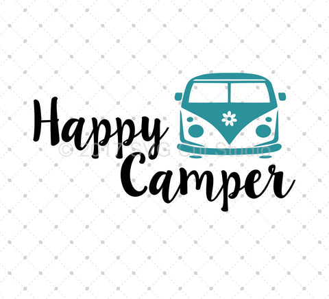 Happy Camper SVG Cut Files - SVG DXF PNG cut cutting files for Cricut and Silhouette by SVG Cut Studio