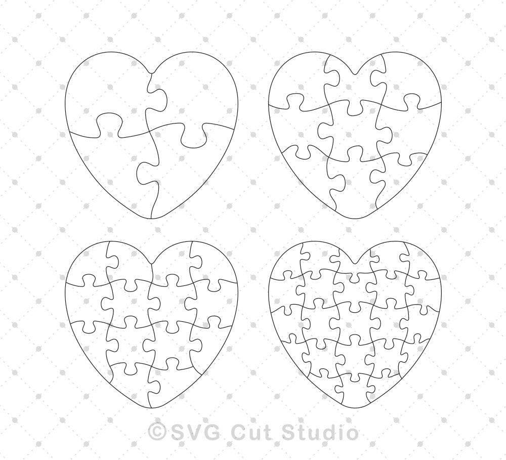 Heart Puzzle Template SVG EPS AI cut files