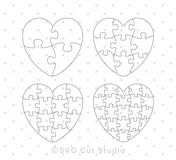 Heart Shape Jigsaw Puzzle Template Svg Eps Ai Cut Files Svg Cut Studio