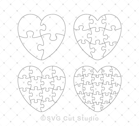SVG files for Cricut Heart Puzzle Template SVG EPS AI cut files Silhouette Studio3 files PNG clipart free svg by SVG Cut Studio