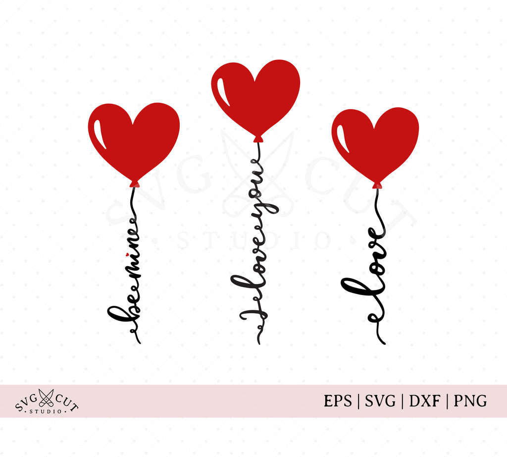 Valentine's Day Hearts Balloons SVG Cut Files