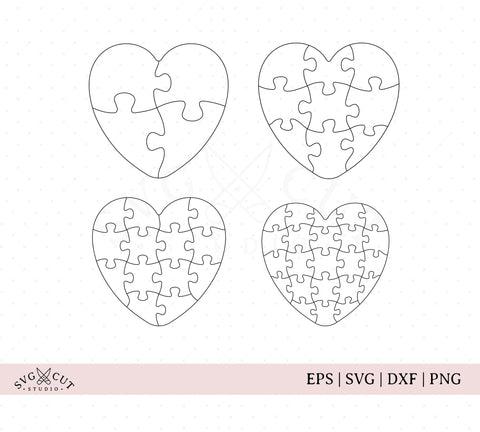 Heart Puzzle Templates svg