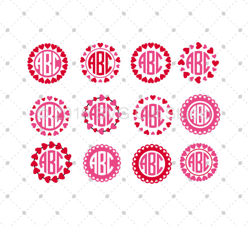 SVG files for Cricut Hearts Monogram Frames SVG Cut Files D4 Silhouette Studio3 files PNG clipart free svg by SVG Cut Studio