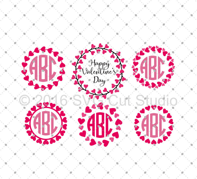 Hearts Monogram Frames SVG Cut Files D2 - SVG Cut Studio